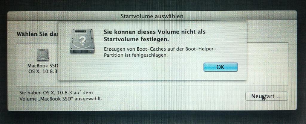 Boot Cache Error